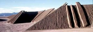 Land sculptor and artist Michael Heizer creates abstract shapes in earth
