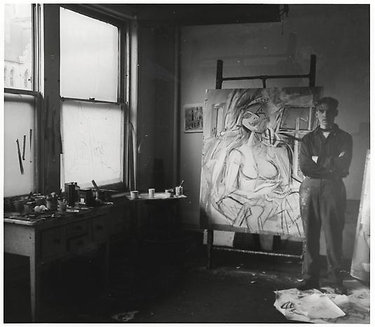 Willem de Kooning in his Fourth Avenue studio, April 1946 [source] Harry Bowden, photographer. Harry Bowden papers, Archives of American Art, Smithsonian Institution.