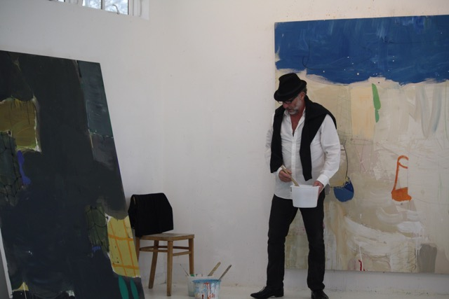 Artist Gary Komarin Painting in his Studio