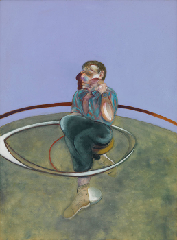 FRANCIS BACON, Self-Portrait, 1978, oil on canvas, 78 × 58 1/8 inches (198 × 147.5 cm). Private Collection. © The Estate of Francis Bacon. All rights reserved. / DACS, London / ARS, NY 2015. Photo by Rob McKeever. [source]