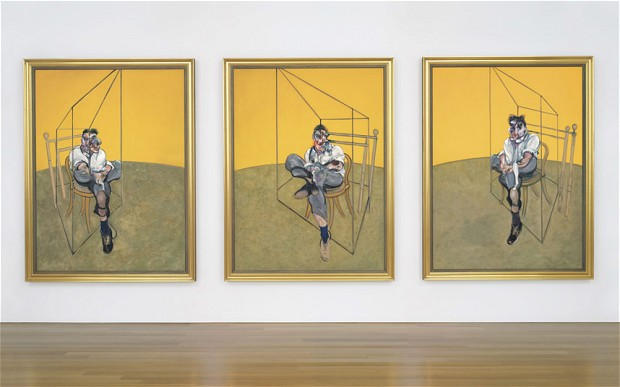 "His iconic 1969 triptych ""Three Studies of Lucian Freud"" sold for $142.4 million at Christie's to Acquavella Galleries."