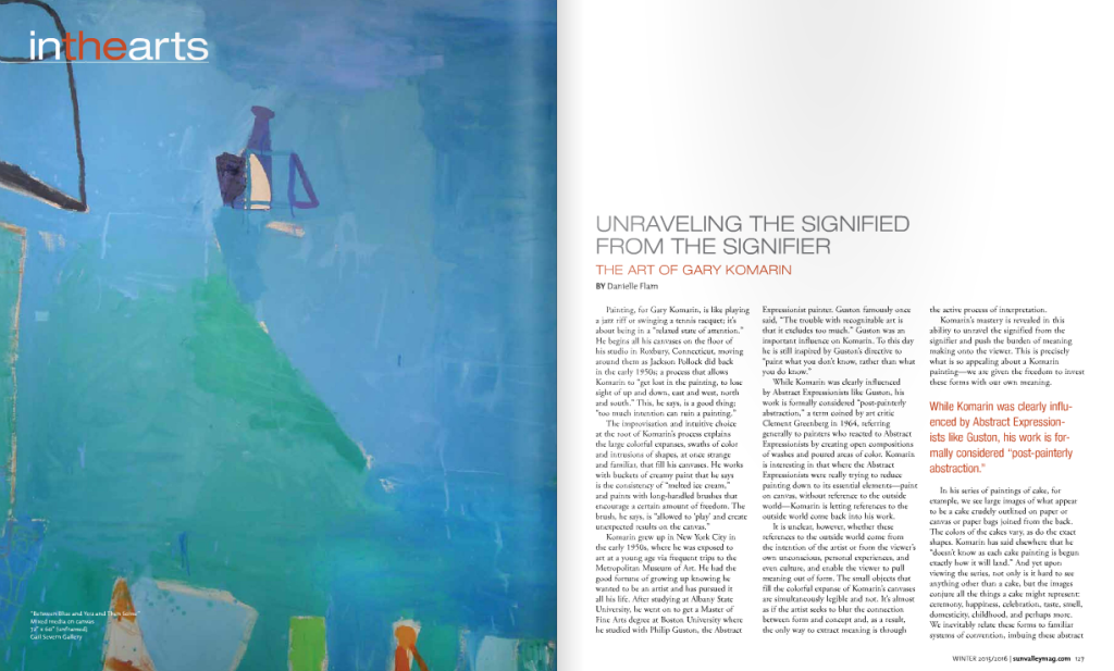 Art News Unraveling the signified from the signifier the art of gary komarin by Danielle Flam Sun Valley Magazine Winter 2016