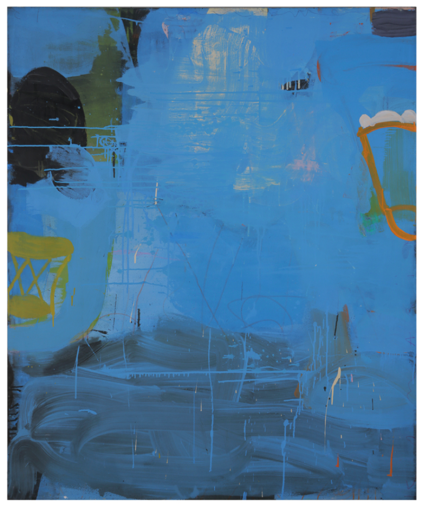 Gary Komarin Abstract Painting in Blue 2016